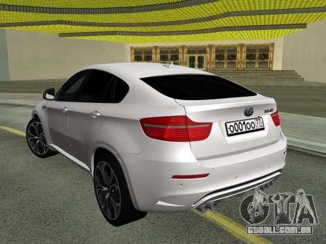 BMW X6M 2010 para GTA San Andreas vista traseira