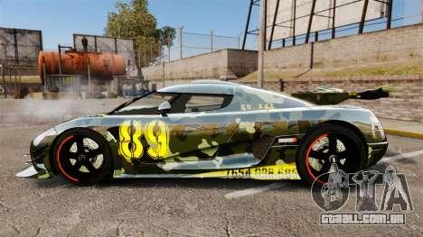 Koenigsegg One:1 para GTA 4 esquerda vista