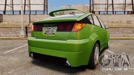 Karin Dilettante new wheels para GTA 4 traseira esquerda vista