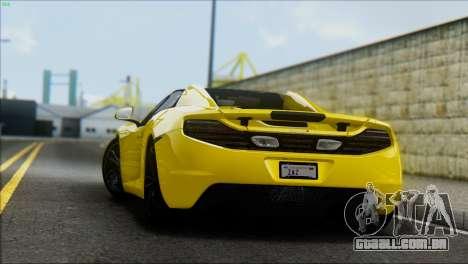 McLaren MP4-12C Spider para GTA San Andreas traseira esquerda vista