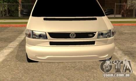 Volkswagen T4 Transporter para GTA San Andreas vista traseira