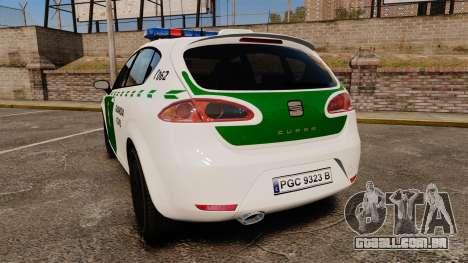 Seat Cupra Guardia Civil [ELS] para GTA 4 traseira esquerda vista