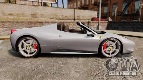 Ferrari 458 Spider para GTA 4 esquerda vista