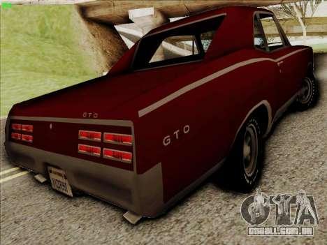 Pontiac GTO 1967 para GTA San Andreas vista direita