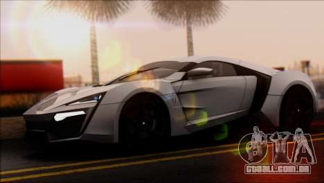 W Motors Lykan Hypersport 2013 para GTA San Andreas traseira esquerda vista