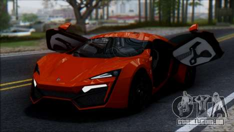 W Motors Lykan Hypersport 2013 para GTA San Andreas vista traseira