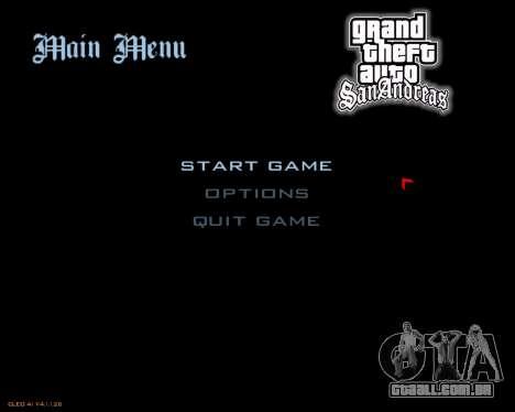 Novo menu imagem para GTA San Andreas segunda tela