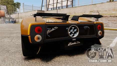 Pagani Zonda C12 S Roadster 2001 PJ2 para GTA 4 traseira esquerda vista
