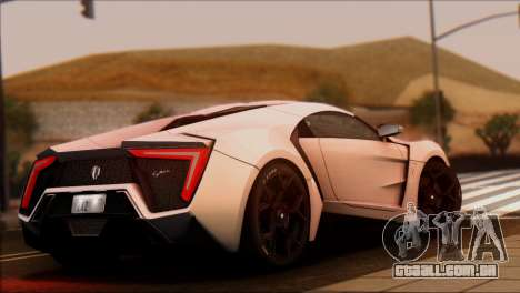 W Motors Lykan Hypersport 2013 para GTA San Andreas esquerda vista