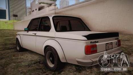 BMW 2002 1973 para GTA San Andreas traseira esquerda vista