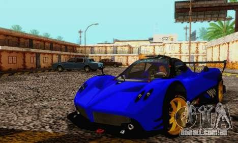 Pagani Zonda Type R Blue para GTA San Andreas vista interior