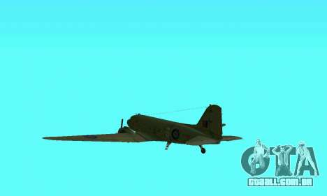 C-47 Dakota RAF para vista lateral GTA San Andreas