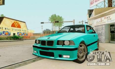 BMW E36 M3 1997 Stock para vista lateral GTA San Andreas