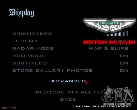 Novo menu imagem para GTA San Andreas por diante tela