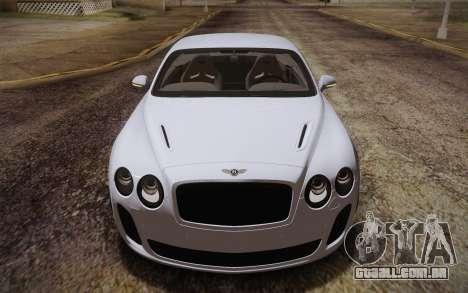 Bentley Continental SuperSports 2010 v2 Finale para GTA San Andreas vista interior