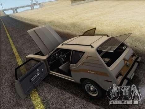 AMC Gremlin X 1973 para GTA San Andreas vista interior