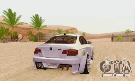 BMW M3 E92 SHD Tuning para GTA San Andreas traseira esquerda vista