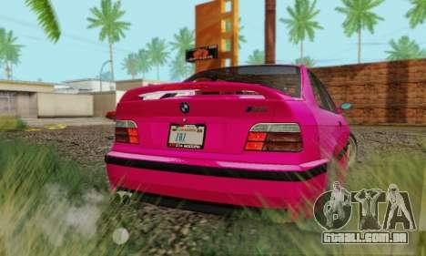 BMW E36 M3 1997 Stock para GTA San Andreas traseira esquerda vista