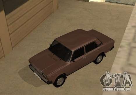 VAZ 2107 versão inicial para GTA San Andreas vista interior
