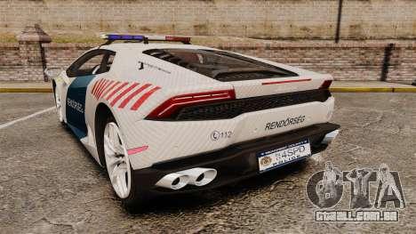 Lamborghini Huracan Hungarian Police [Non-ELS] para GTA 4 traseira esquerda vista