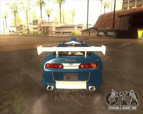 Toyota Supra из NFS Most Wanted para GTA San Andreas traseira esquerda vista