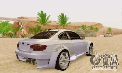 BMW M3 E92 SHD Tuning para GTA San Andreas vista direita