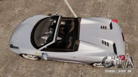Ferrari 458 Spider para GTA 4 vista direita