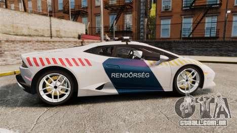 Lamborghini Huracan Hungarian Police [Non-ELS] para GTA 4 esquerda vista