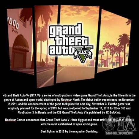 Tela de inicialização do GTA V para GTA San Andreas