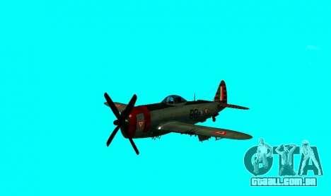 P-47 Thunderbolt para GTA San Andreas traseira esquerda vista