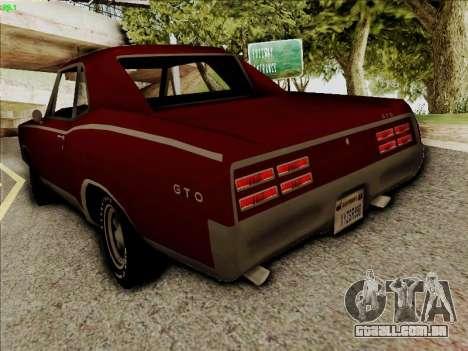Pontiac GTO 1967 para GTA San Andreas traseira esquerda vista