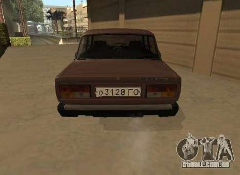 VAZ 2107 versão inicial para GTA San Andreas traseira esquerda vista