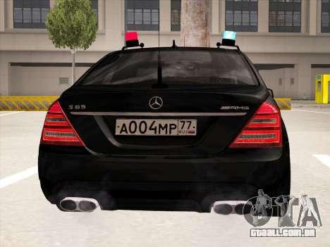 Mercedes-Benz S65 AMG 2012 para GTA San Andreas vista traseira