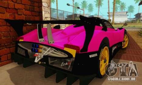 Pagani Zonda Type R Pink para GTA San Andreas vista traseira