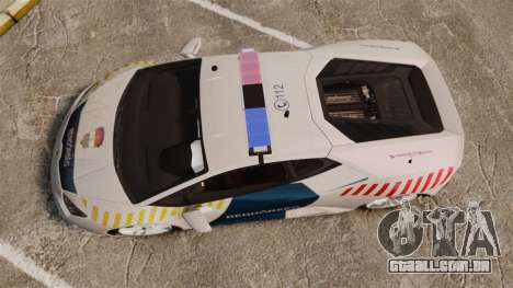 Lamborghini Huracan Hungarian Police [Non-ELS] para GTA 4 vista direita