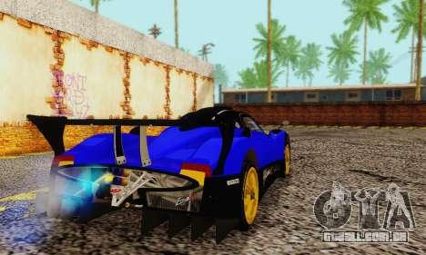 Pagani Zonda Type R Blue para GTA San Andreas traseira esquerda vista