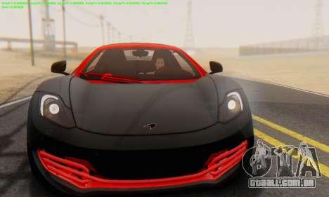 Mclaren MP4-12C Spider Sonic Blum para GTA San Andreas vista traseira