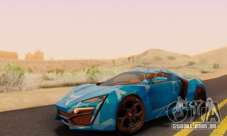 W-Motors Lykan Hypersport 2013 Blue Star para vista lateral GTA San Andreas