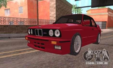 BMW E30 M3 1991 para GTA San Andreas traseira esquerda vista