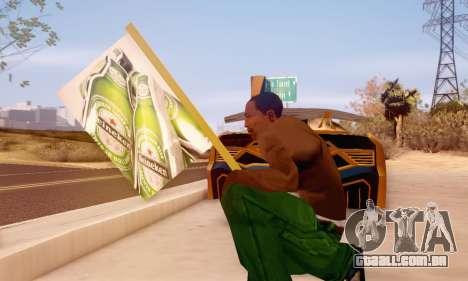Um sinal de propaganda de cerveja para GTA San Andreas por diante tela