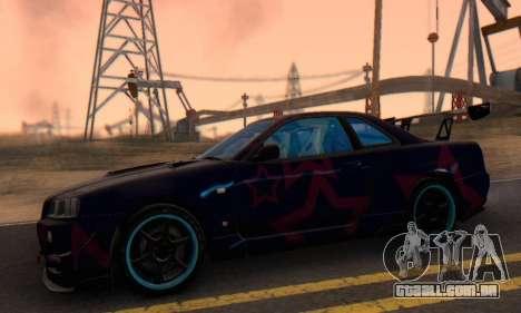Nissan Skyline GTR 34 Blue Star para GTA San Andreas vista traseira