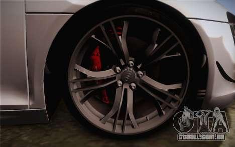Audi R8 GT 2012 para GTA San Andreas traseira esquerda vista