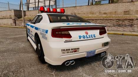 GTA V Bravado Buffalo LCPD para GTA 4 traseira esquerda vista