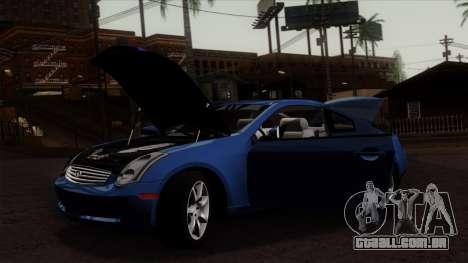 Infiniti G35 Coupe (V35) 2003 para GTA San Andreas traseira esquerda vista