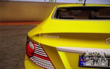 Hyundai Accent Taxi 2013 para GTA San Andreas vista traseira