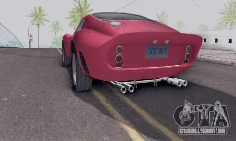 Ferrari 250 GTO 1962 para GTA San Andreas esquerda vista