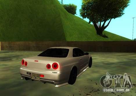 Nissan Skyline R34 V-Spec para GTA San Andreas esquerda vista
