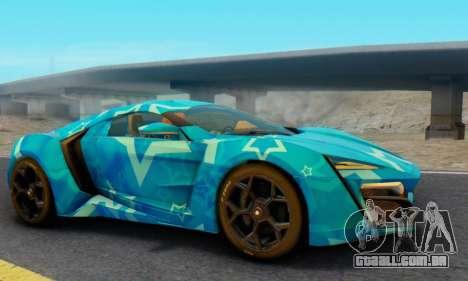 W-Motors Lykan Hypersport 2013 Blue Star para GTA San Andreas vista direita