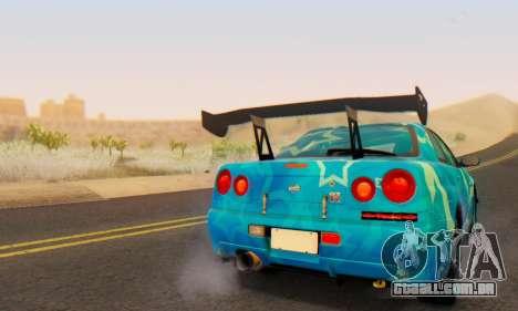 Nissan Skyline GTR 34 Blue Star para GTA San Andreas vista superior