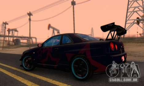 Nissan Skyline GTR 34 Blue Star para GTA San Andreas vista direita